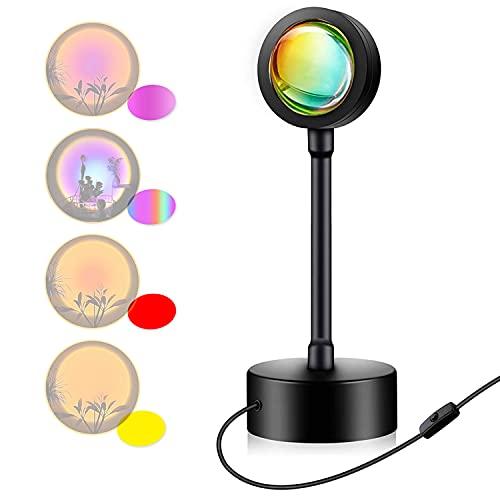 Lámpara de proyección de puesta de sol,Luz Calida Rotación RGB 1.5M Cable USB 5W Luz de escritorio Fotografía decoración de pared,...