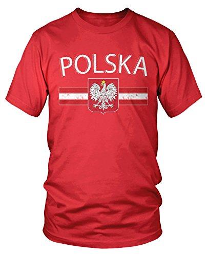 Amdesco Men's Polska Poland Flag and Polish White Eagle T-Shirt, Red Large