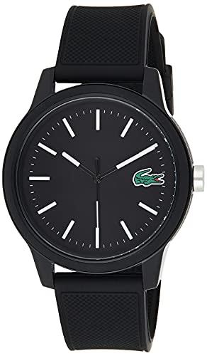 Lacoste Relógio masculino TR90 de quartzo com pulseira de borracha, preto, 20 (modelo: 2010986)