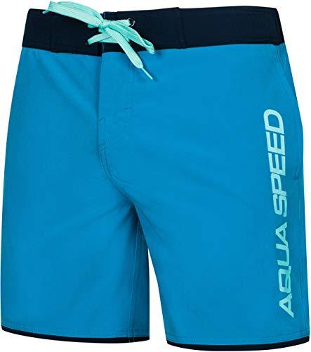 Aqua Speed Badeshorts Herren | Boardshorts für Surfer | Board Shorts | Badehose Männer | Moderne Blaue Schwimmhose | Mens Swimwear | Schwimmshort | Swim Trunks | Surfen | Gr. S, Blau | Evan