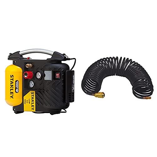 Stanley Dn200/10/5 Airboss Compressore D'Aria, 1100 W, 230 V & 8221577Stn Tubo Spiralato 10 Metri Attacco Rapido, Nero