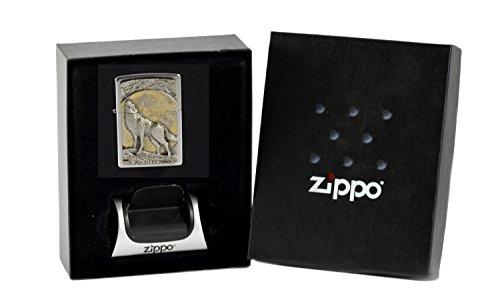 Zippo Wolf at Moonlight im Geschenkset mit Magnetständer