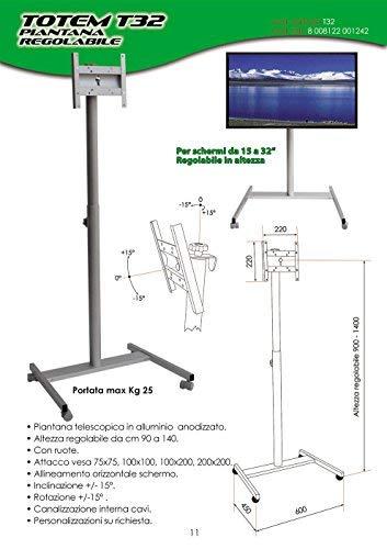 Lámpara de pie Porta TV–Totem T32–Altura Ajustable