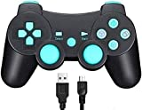 TPFOON Mando Inalámbrico para Sony PS3, Wireless Bluetooth Controlador Gamepad Joystick para Playstation 3 con Función SIXAXIS y Doble Vibración, Incluye Cable de Carga y 2 Thumb Grip Caps