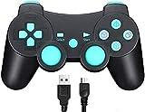 TPFOON Manette PS3 avec Câble de Charge, Manette sans Fil avec Double Vibration et Sixaxis pour Sony Playstation 3