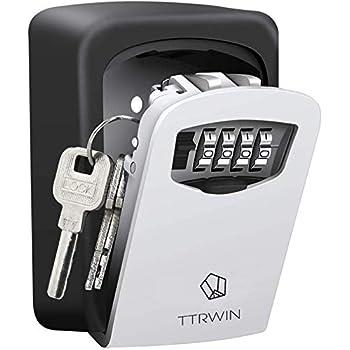 green Wall Mounted Key Lock Box With 4-Digit Combination Key Storage Lock Box for House Keys or Car Keys lock box Holds up to 5 Keys