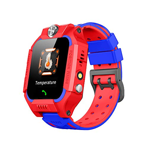 Children's Positioning Horloge Met Body Temperatuurmeetfunctie Met 1,44 Inch Touch Screen Waterdichte Card Phone Armband Met GPS Positioning + Sos Positioning,Red