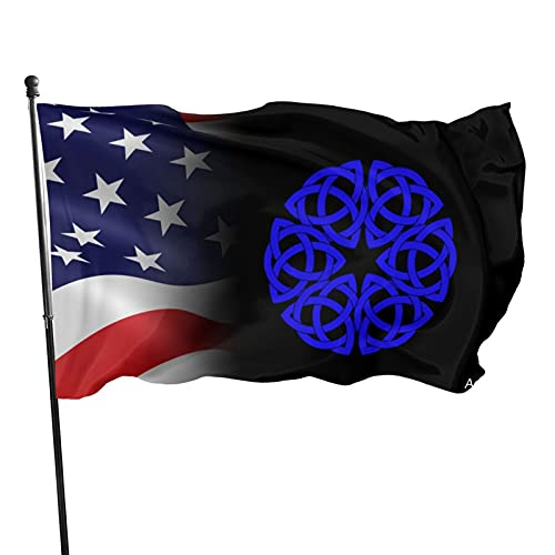 Acyliv Celtic Knot Circle in Blue Flag 3x5 Ft for Indoor Or Outdoor Holiday Decorative Banner