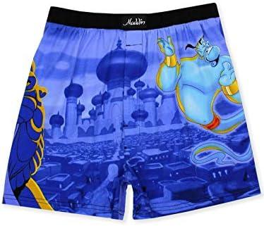 Disney Aladdin Genie Jafar Mens Briefly Stated Boxer Lounge Shorts X Large Blue Multi product image