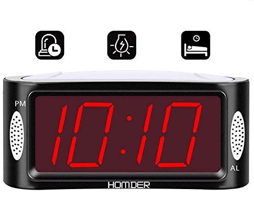 """Homder Wecker Digitaler Wecker mit Nachtlicht 4.9"""" LED Display Digitaluhr Tischuhr Snooze-Funktion/Full-Range-Helligkeit Dimmer"""