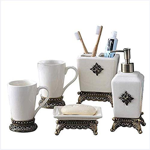 LiHong Juego de Accesorios de baño de cerámica Vintage, Elegante, Lujoso Organizador...
