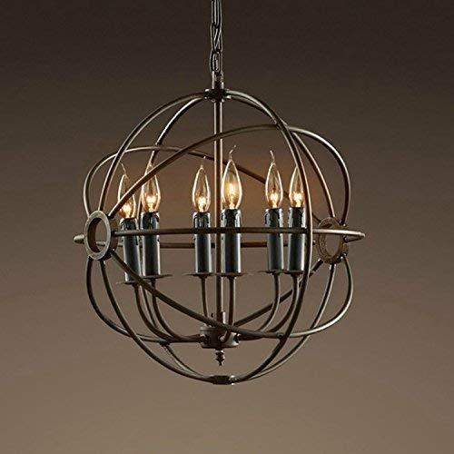 AI LI WEI Juan mooie lampen/kaars vintage-industrie wind chandelier Nordic restaurant café ronde ijzeren bar kroonluchter, 6 koppen