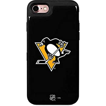 Skinit Wallet Phone Case Compatible with iPhone 7 - Officially Licensed NHL Pittsburgh Penguins Solid Background Design - 2 Card Wallet iPhone 7 Cover