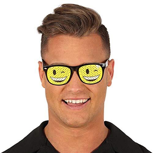 NET TOYS Smiley-Brille für Erwachsene | Gelb-Schwarz | Originelles Unisex-Accessoire Zwinker-Smiley Spaßbrille | Genau richtig für Mottoparty & Karneval