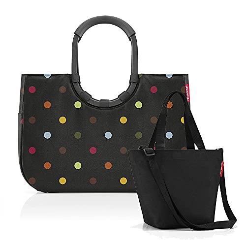 Set aus reisenthel loopshopper L und reisenthel Shopper XS - Einkaufskorb mit passendem Mini-Shopper, Frame dots + Black