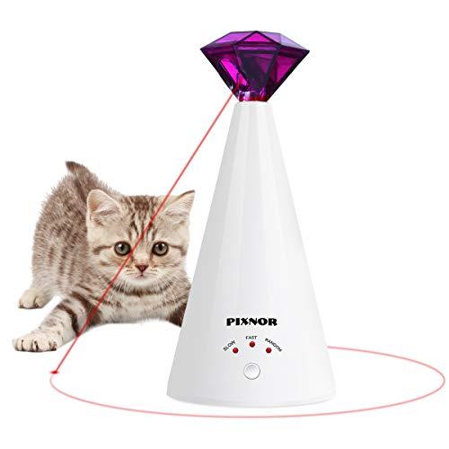 Pixnor Haustier-Spielzeug für Katzen, automatisches Katzenspielzeug, drehbar, mit Schnapp-Training, 3 Geschwindigkeiten, automatische Ruhezeit, schöne Diamantform