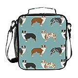 Boys Australian Shepherds Dogs Lunch Box Cute Dogs Insulated Lunch Bag...
