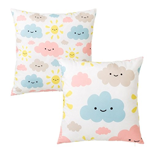 D, Home – Set of 2 Polyester Design Clouds Pink Cushion for Children Bedroom Child