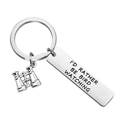 bobauna I'd Rather Be Bird Watching Keychain with Binoculars Charm Ornithology Gift for Ornithologist Bird Watcher (Bird Watching Keychain)
