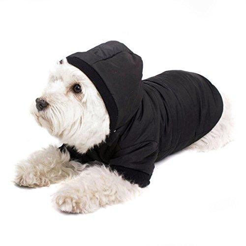 GOODS+GADGETS Schwarzer Hundemantel mit Kapuze; Schicke Hunde-Jacke Hundeanorak für Ihren Hund; Größe L (37cm)