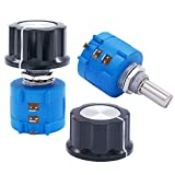 Taiss / 2pcs 3590S 10-Turn Rotary Wire Wound Precision Potentiometer, Precision Multi Turn Wirewound Potentiometer, 10 Ring Adjustable Resistor + 2pcs A03 knob (3590S-2-502L 5k ohm)