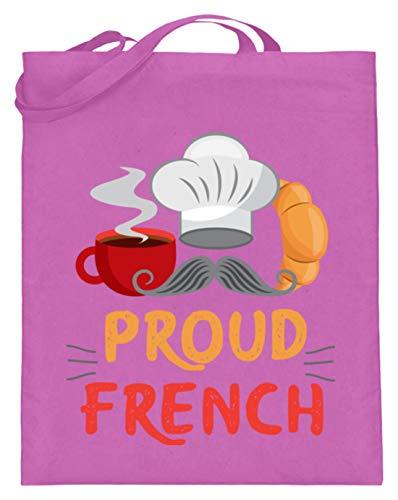 Schuhboutique Doris Finke UG (haftungsbeschränkt) Frankreich Stolzer Franzose Kaffee Crois - Jutebeutel (mit langen Henkeln) -38cm-42cm-Pink