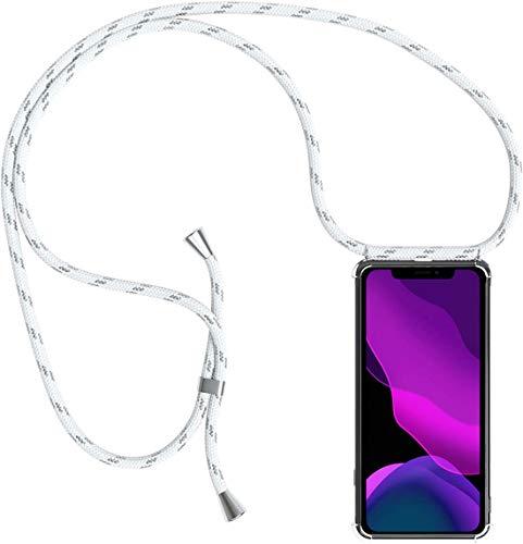 2ndSpring Handykette Schutzhülle kompatibel mit Oppo Find X2 Neo Handyhülle mit Band,Halsband Lanyard Hülle Cover Silikonhülle Umhängen Handytasche Hülle,Silber