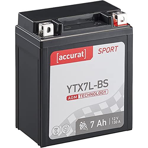 Accurat Motorradbatterie YTX7L-BS 6Ah 100A 12V Starter Batterie mit AGM-VRLA Technologie: rüttelfest robust wartungsfrei