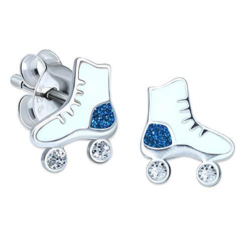 Orecchini a forma di pattini a rotelle con brillantini, bianco e blu, in argento Sterling