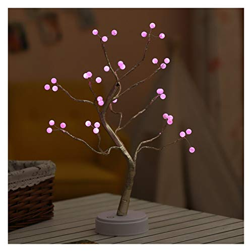 Fuxwlgs Table Lamp LED Night Light Mini Christmas Tree Copper Wire Garland Lamp For Home Kids Bedroom Decor Fairy Lights Luminary Holiday lighting bedroom (Emitting Color : 36leds Pearl pink)