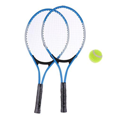 Erwachsene Tennisschläger Set - 2X Tennisschläger, 1x Schlägerhülle und Tennisball - Blau