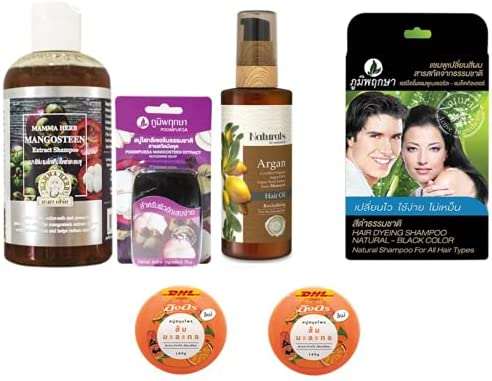 Extra overseas Set Mama Mangosteen Cheap bargain Peel Herbal Shampoo 270ml with Ve Aloe
