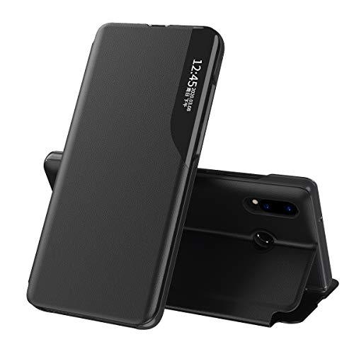 Baiyian Flip Funda de Cuero con Ventana Piel con Tape Carcasa para Huawei P30 Lite, Negro