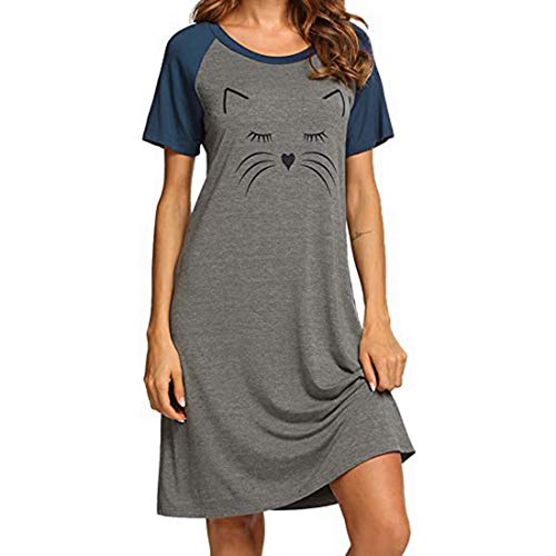 MoneRffi Stillnachthemd Damen Kurzarm Nachthemd Stillshirt Umstandskleid Baumwolle Umstandsnachthemd Schlafanzug für Schwangere oder stillende Frauen(A#grau,XXL)