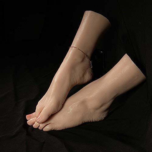 WRQ 1 Paar 1:1 Realistisch Frau Silikon Fälschung Füße Modell Fuß Fetisch Spielzeug Mannequin Fuß Für Die Socke Schuhe Anzeige Größe EU 38