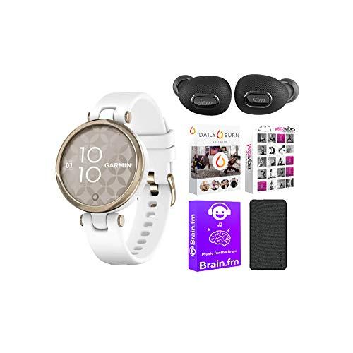 Garmin Lily Sport Smartwatch for Women (Cream Gold Bezel/White Case) Performance Bundle (4 Items)