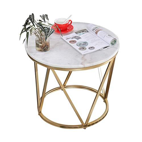 Moderna sala de estar mesa redonda Ronda moderna Mesa de cafe, mesa auxiliar, mesa de te, escritorio del ordenador portatil, for el hogar sala de estar y oficina, imitacion de marmol Marco Superior Or