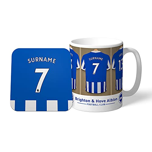 Personalised Sports & Photo Gifts Compatible With Brighton and Hove Albion F.C. Personalised Dressing Room Mug and Coaster Set