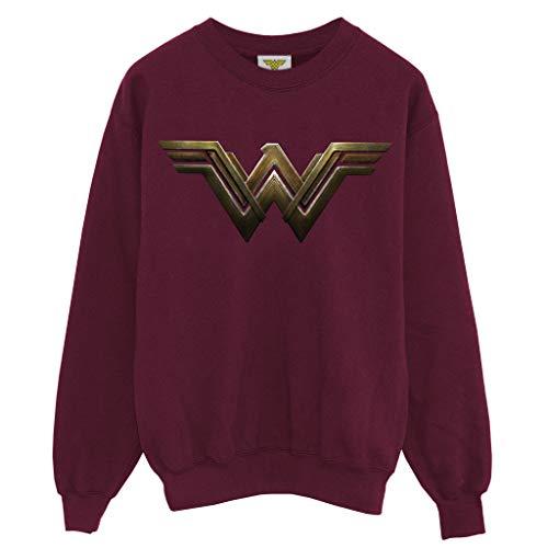 Popgear DC Comics Wonder Woman Movie Logo Women's Boyfriend Fit Sweatshirt Burgundy S Sudaderas de Moda, Granate, Mujer