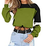 iHENGH Sweatshirt, Damen Lange Ärmel Splicing Color Sweatshirt Pullover Tops Bluse S-XXL