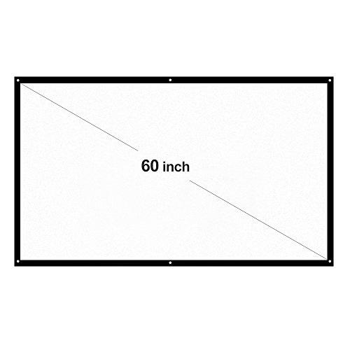 Docooler &apos H60 60 Pantalla de proyección portátil HD 16: 9 Blanco 60 Pulgadas Pantalla para proyección Diagonal Teatro Doméstico Plegable para Wall Projection