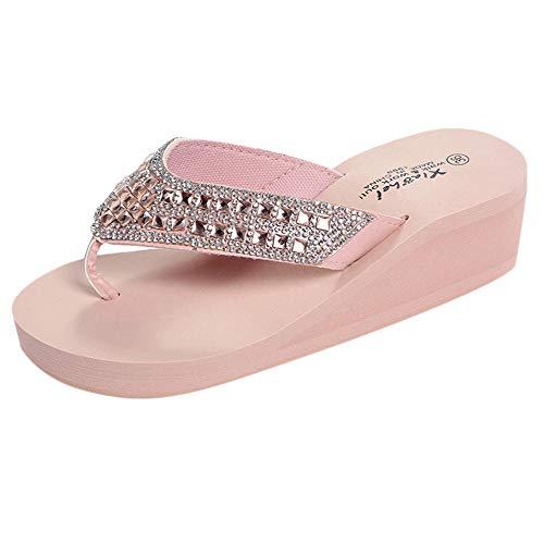 Zapatillas Casa Chanclas Sandalias Chanclas De Tacón De Cuña Zapatos De Casa De Mujer Zapatillas De Moda Zapatos De Playa-Pink_38