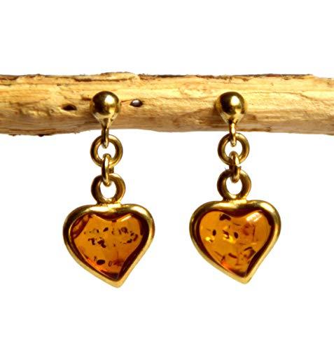 MJ Baltica Pendientes artesanales de plata 925 bañada en oro de 14k y ámbar natural corazones BZK020