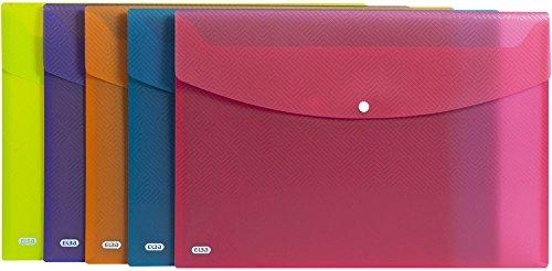 ELBA Urban Brieftaschen A3 aus Kunststoff, transparent, farbig sortiert, 5er Pack