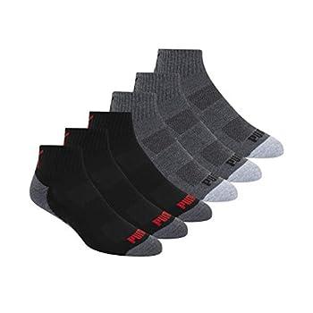 PUMA Socks Men s Quarter Cut Socks Sock Size 10-13/Shoe Size  6-12 Grey Sock Size 10-13/Shoe Size  6-12  Pack of 6