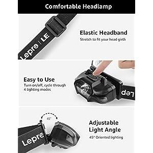 Lepro Linterna Frontal LED Potente Super Ligero, 4 Modos de Luces, Luz Frontal Cabeza Resistente al Agua IPX4, Linterna de Cabeza para Acampada, Ciclismo, Correr, Caminata, Casco, etc.