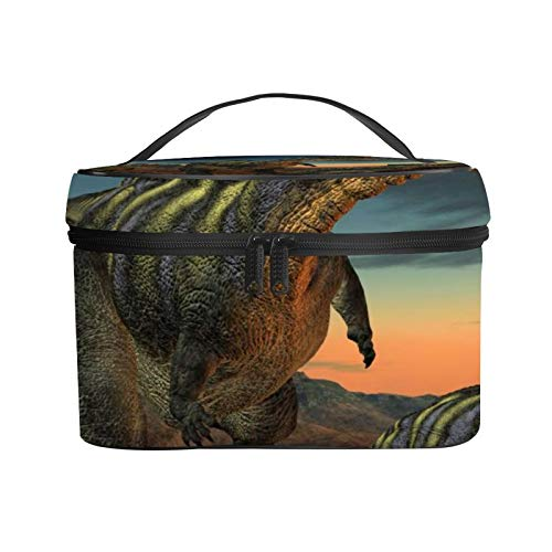 3D Dinosaur Makeup Bag Cosmetic Travel Organizer Bags Case Big Portable Zip Cartoon Toiletry Storage Train Case Pouch Brush Bag Leather for Women Kids Girls