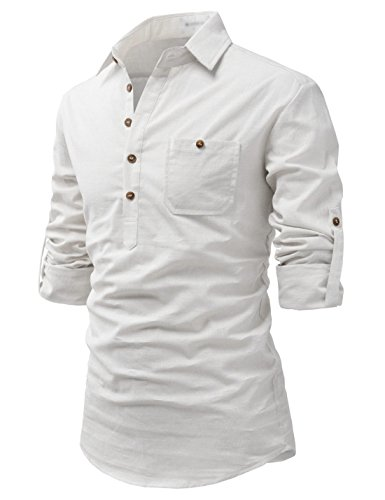 TheLees (NKN450 Prime Cotton Transform Roll-Up Sleeve Expedition Bush Shirts Ivory US L(Tag Size L)