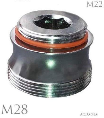 M22 AG x M28 AG Chrom, Badewannen Armatur Adapter, ästhetisch geschwungen, für Perlstrahler Gewinde am Wasserhahn. Badewannen Auslauf M28x M22, für Luftsprudler Gewinde um z.B. Aquadea Wasser-Wirbler oder Filter wie SanUno, Okato anzuschließen