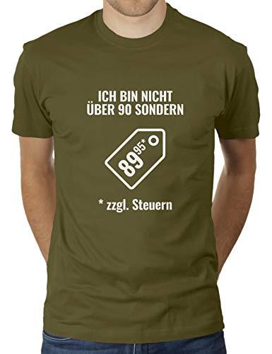 """KaterLikoli - Camiseta para hombre con texto en alemán """"Ich bin nicht über über 90"""", """"Ich bin nicht über mehr 90"""", incluye impuestos, diseño con texto en alemán verde oliva M"""